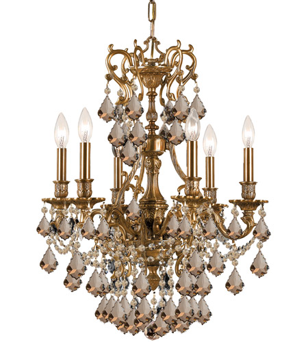 Crystorama Yorkshire 6 Light Chandelier in Aged Brass, Golden Teak, Swarovski Elements 5146-AG-GTS photo