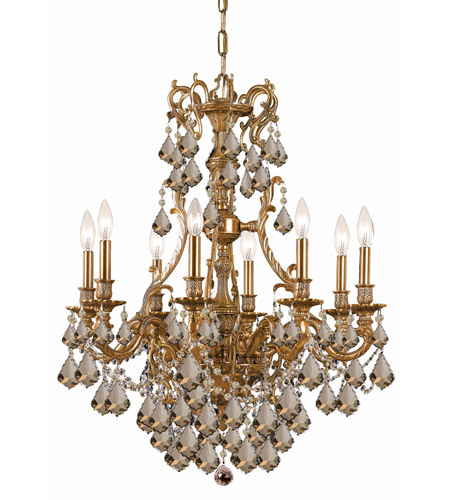 Crystorama 5148-AG-GTS Yorkshire 8 Light 26 inch Aged Brass Chandelier Ceiling Light in Golden Teak (GT), Swarovski Elements (S) photo