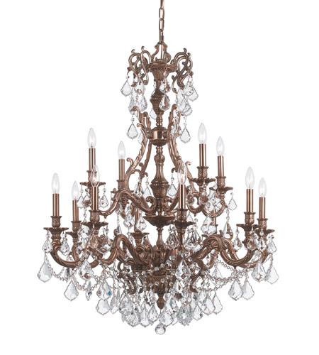 Crystorama Yorkshire 12 Light Chandelier in Aged Brass, Clear Crystal, Swarovski Spectra 5149-AG-CL-SAQ photo