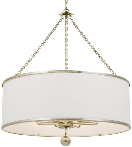Crystorama 515-SA Broche 8 Light 29 inch Antique Silver Chandelier Ceiling Light in Antique Silver (SA) photo