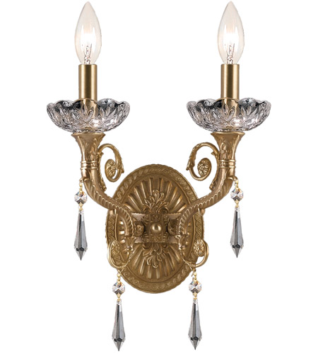 Crystorama Regal 2 Light Wall Sconce in Aged Brass 5152-AG-CL-MWP photo