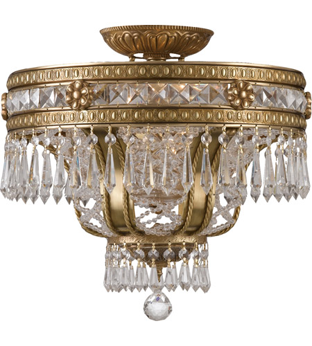 Crystorama 5153-AG-CL-MWP Regal 6 Light 17 inch Aged Brass Semi Flush Mount Ceiling Light in Clear Crystal (CL), Hand Cut, Aged Brass (AG) photo