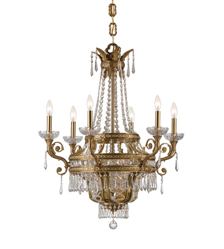 Crystorama Regal 9 Light Chandelier in Aged Brass, Clear Crystal, Hand Cut 5156-AG-CL-MWP photo