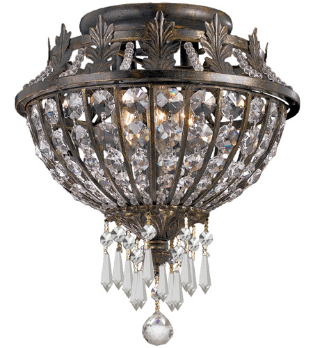 Crystorama Vanderbilt 3 Light Flush Mount in English Bronze with Hand Cut Crystals 5163-EB-CL-MWP