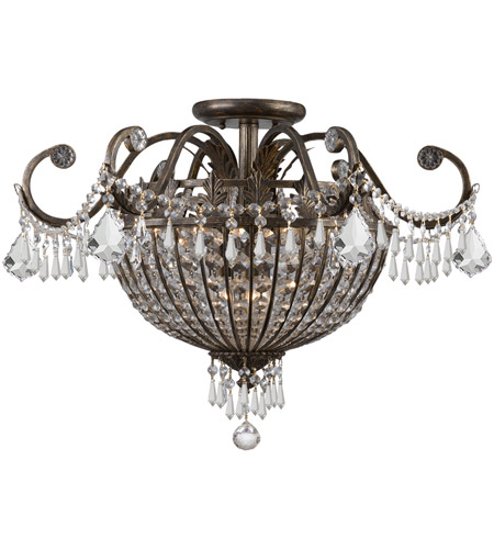Crystorama 5165-EB-CL-MWP Vanderbilt 6 Light 22 inch English Bronze Semi Flush Mount Ceiling Light photo