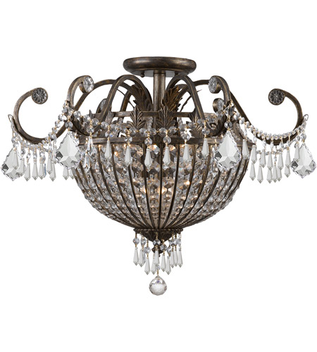 Crystorama 5167-EB-CL-MWP Vanderbilt 9 Light 24 inch English Bronze Semi Flush Mount Ceiling Light photo