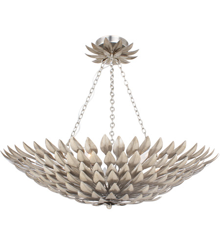 Crystorama 517-SA_CEILING Broche 6 Light 25 inch Antique Silver Flush Mount Ceiling Light in Antique Silver (SA), 24-in Width photo