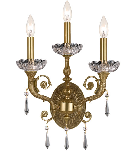 Crystorama Regal 3 Light Wall Sconce in Aged Brass 5173-AG-CL-S photo