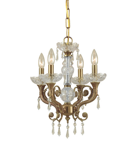 Crystorama 5174-AG-CL-MWP Regal 4 Light 14 inch Aged Brass Mini Chandelier Ceiling Light photo