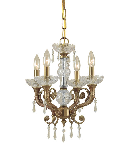 Crystorama Regal 4 Light Mini Chandelier in Aged Brass 5174-AG-CL-SAQ photo