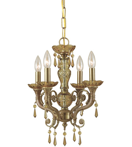 Crystorama 5174-AG-GT-MWP Regal 4 Light 14 inch Aged Brass Mini Chandelier Ceiling Light in Golden Teak (GT), Hand Cut photo