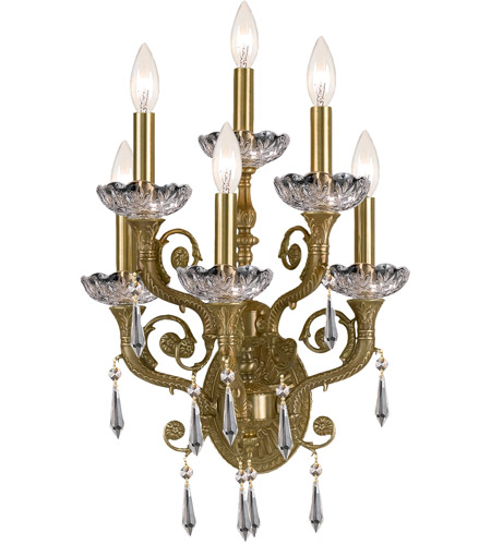 Crystorama Regal 6 Light Wall Sconce in Aged Brass 5176-AG-CL-SAQ photo