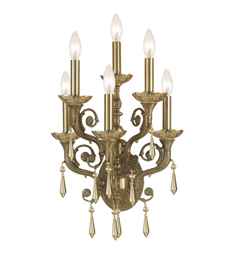 Crystorama Regal 6 Light Wall Sconce in Aged Brass 5176-AG-GTS photo