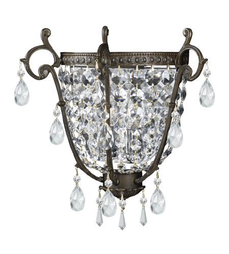 Crystorama Lighting Manchester 2 Light Wall Sconce in English Bronze & Swarovski Spectra - Clear 5180-EB-CL-SAQ photo