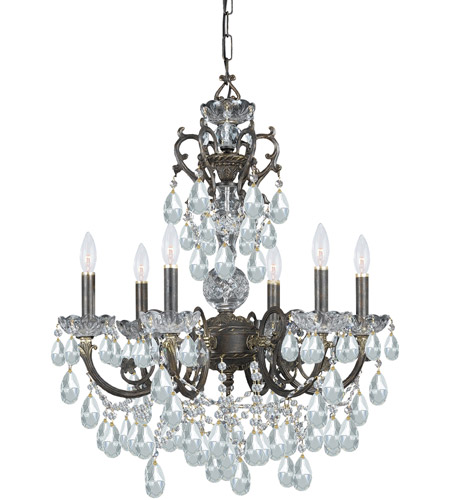 Crystorama Legacy 6 Light Chandelier in English Bronze with Italian Crystals 5196-EB-CL-I photo