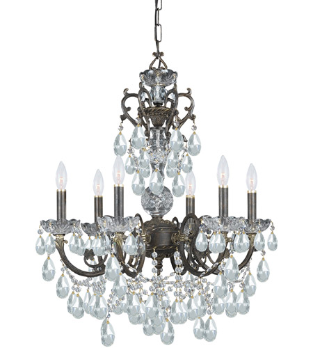 Crystorama 5196-EB-CL-MWP Legacy 6 Light 23 inch English Bronze Chandelier Ceiling Light in Hand Cut photo