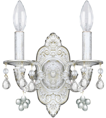 Crystorama Sutton 2 Light Wall Sconce in Antique White 5200-AW-CLEAR photo