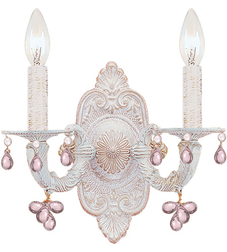 Crystorama Sutton 2 Light Wall Sconce in Antique White 5200-AW-ROSA photo