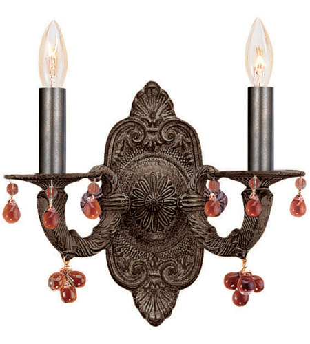 Crystorama Sutton 2 Light Wall Sconce in Venetian Bronze 5200-VB-AMBER photo