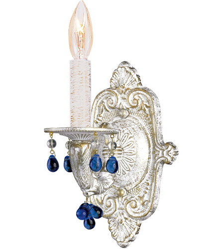 Crystorama Sutton 1 Light Wall Sconce in Antique White 5201-AW-BLUE photo