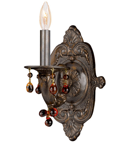 Crystorama Sutton 1 Light Wall Sconce in Venetian Bronze 5201-VB-AMBER photo