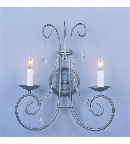 Crystorama Soho 2 Light Wall Sconce in Natural Iron with Hand Polished Crystals 5202-IR photo