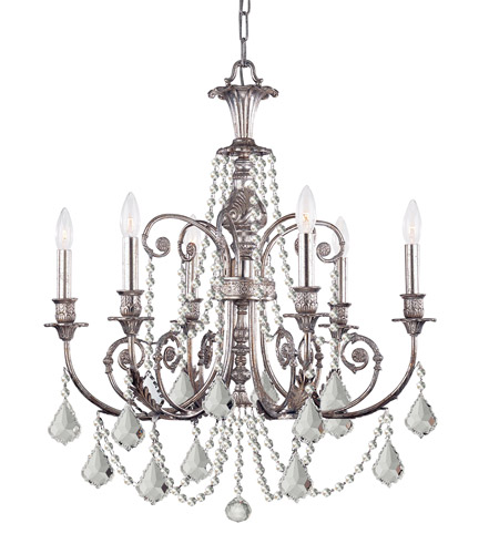 Crystorama Lighting Regis 6 Light Chandelier in Olde Silver & Hand Cut Clear Crystal 5216-OS-CL-MWP photo