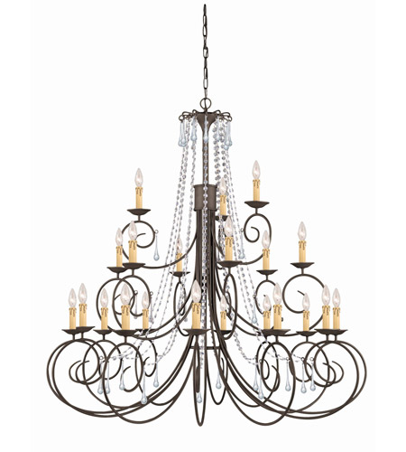 Crystorama SOHO 21 Light Chandelier in Dark Rust, Hand Cut 5219-DR-CL-MWP photo