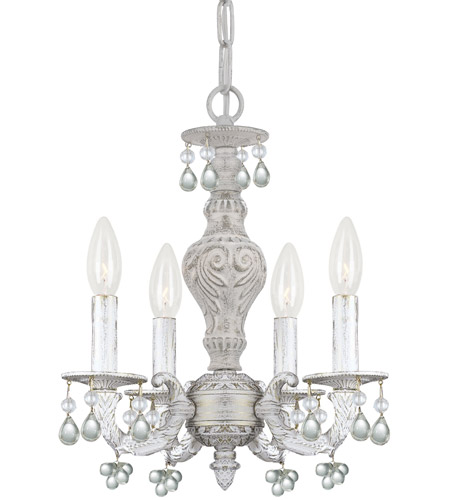 Crystorama 5224-AW-CLEAR Paris Market 4 Light 14 inch Antique White Mini  Chandelier Ceiling Light - Crystorama 5224-AW-CLEAR Paris Market 4 Light 14 Inch Antique