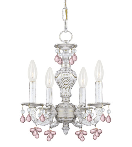 Crystorama 5224-AW-ROSA Paris Market 4 Light 14 inch Antique White Mini Chandelier Ceiling Light in Rosa photo