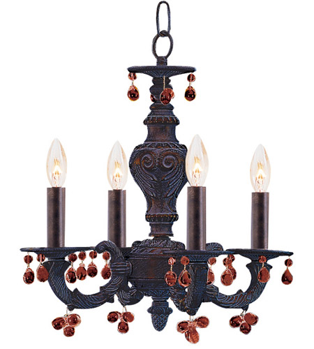 Crystorama 5224-VB-AMBER Paris Market 4 Light 14 inch Venetian Bronze Mini Chandelier Ceiling Light photo