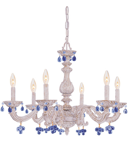 Crystorama 5226-AW-BLUE Paris Market 6 Light 28 inch Antique White Chandelier Ceiling Light photo