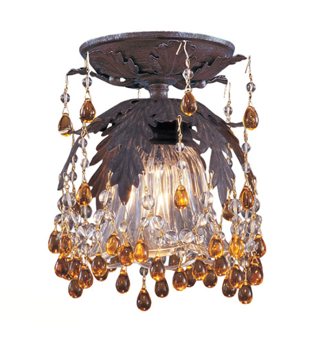 Crystorama Melrose 1 Light Semi-Flush Mount in Dark Rust 5230-DR-AMBER photo