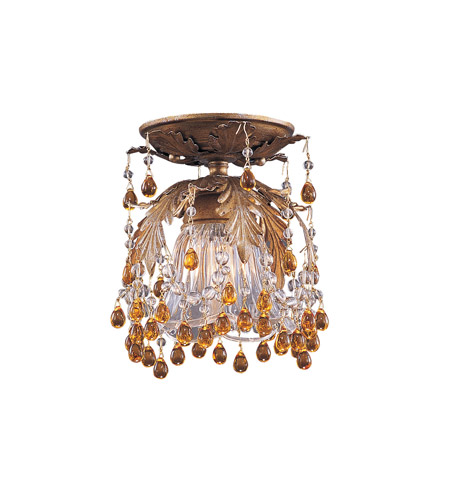Crystorama Lighting Melrose 1 Light Semi-Flush Mount in Gold Leaf & Murano Crystal - Amber 5230-GL-AMBER photo