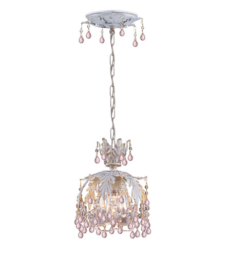 Crystorama Melrose 1 Light Pendant in Antique White 5235-AW-ROSA photo