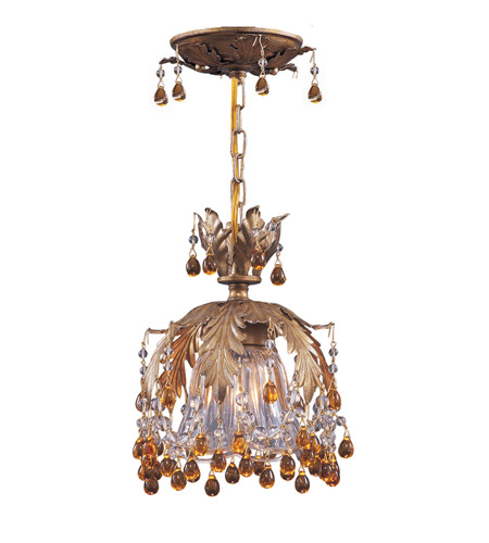Crystorama Lighting Melrose 1 Light Semi-Flush Mount in Gold Leaf & Murano Crystal - Amber 5235-GL-AMBER photo