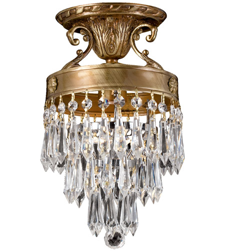 Crystorama Regal 1 Light Semi Flush Mount in Aged Brass, Clear Crystal, Hand Cut 5270-AG-CL-MWP photo