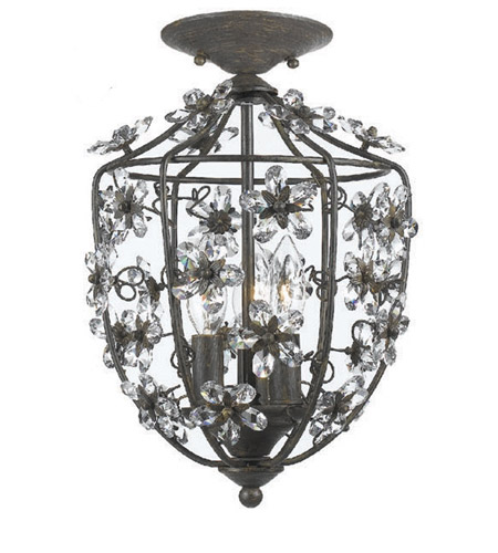 Crystorama Lighting Abbie 3 Light Flush Mount in Dark Rust & Hand Polished 5303-DR_FLUSH photo