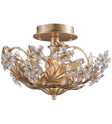 Crystorama 5305 Gl Paris Market 3 Light 12 Inch Gold Leaf Semi Flush Mount Ceiling In