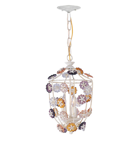 Crystorama 5313-AW Retro 3 Light 10 inch Antique White Pendant Ceiling Light in Hand Cut, Antique White (AW) photo