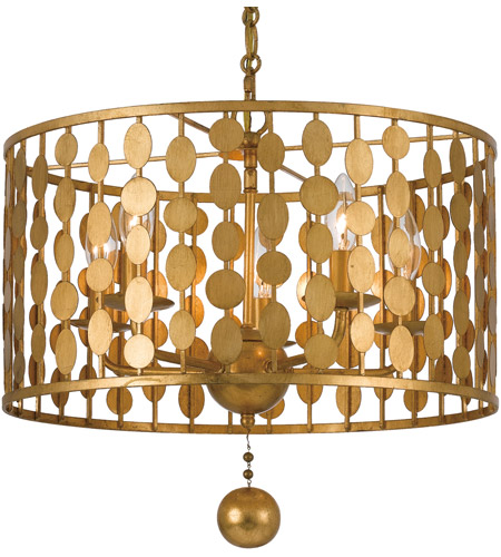 Bon Crystorama 545 GA Layla 5 Light 18 Inch Antique Gold Chandelier Ceiling  Light In Antique