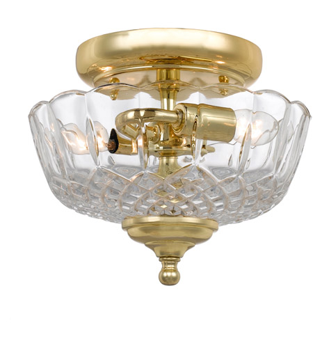 Crystorama 55-SF-PB Signature 2 Light 10 inch Polished Brass Semi Flush Mount Ceiling Light photo