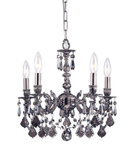 Crystorama 5504-PW-SS-MWP Gramercy 4 Light 11 inch Pewter Mini Chandelier Ceiling Light in Pewter (PW), Silver Shade Hand Cut photo