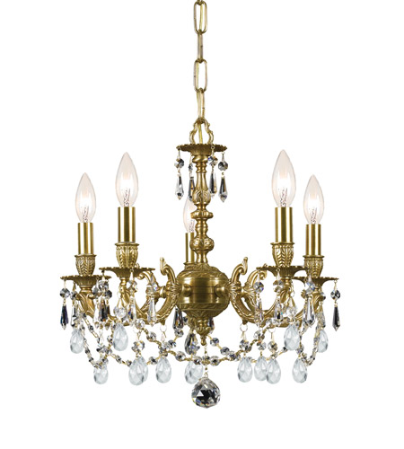 Crystorama Mirabella 5 Light Mini Chandelier in Aged Brass, Clear Crystal, Hand Cut 5505-AG-CL-MWP photo