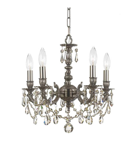 Crystorama Mirabella 5 Light Mini Chandelier in Pewter, Clear Crystal, Swarovski Spectra 5505-PW-CL-SAQ photo