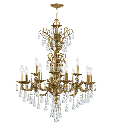 Crystorama Mirabella 12 Light Chandelier in Aged Brass 5512-AG-CL-S photo