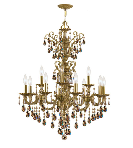 Crystorama Mirabella 12 Light Chandelier in Aged Brass 5512-AG-GTS photo