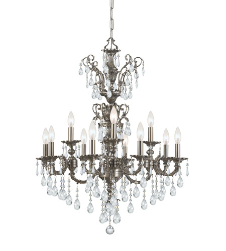 Crystorama Mirabella 12 Light Chandelier in Pewter 5512-PW-CL-SAQ photo