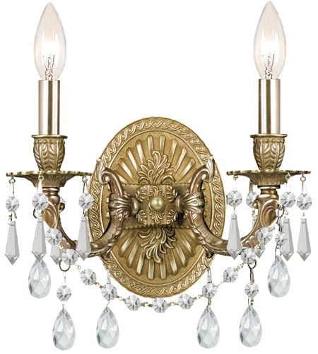 Crystorama 5522-AG-CL-SAQ Gramercy 2 Light 11 inch Aged Brass Wall Sconce Wall Light in Swarovski Spectra (SAQ), Aged Brass (AG) photo
