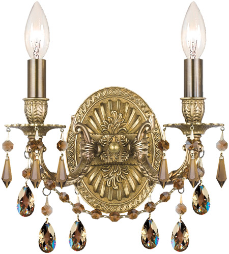 Crystorama 5522-AG-GT-MWP Gramercy 2 Light 11 inch Aged Brass Wall Sconce Wall Light in Golden Teak (GT), Hand Cut, Aged Brass (AG) photo